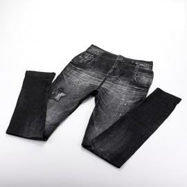 Legging Fin imitation Jean noir délavée