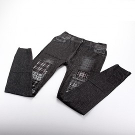 Legging Fin imitation Jean noir motif patchwork