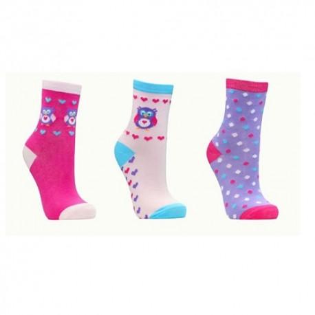 Lot de 3 chaussettes fille motif hibou chouette coeurs