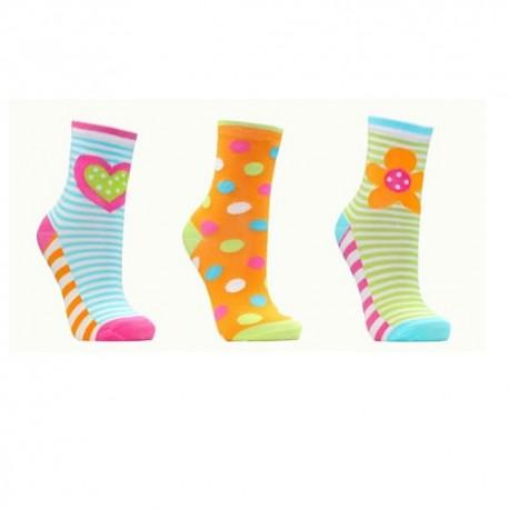 Lot de 3 chaussettes enfant motif tendance FLUO FLEURS ET COEURS