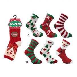 Lot de 3 paires de chaussons chaussettes Noel Santa pour femme