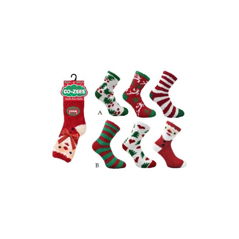 lot de 3 paires de chaussons chaussettes noel santa pour femme. Black Bedroom Furniture Sets. Home Design Ideas