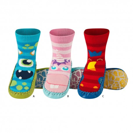 Chaussons enfant semelle cuir MONSTERS