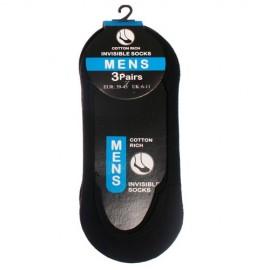 Lot de 3 paires de chaussettes invisibles noir pour homme