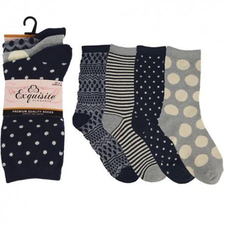 Lot de 3 paires de chaussettes pour femme noir et gris