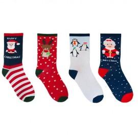 Lot de 4 paires de chaussettes noël femme