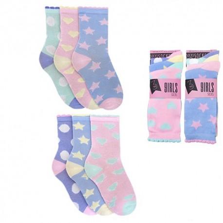 chaussettes pour fille etoile et coeurs
