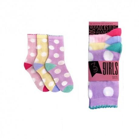 chaussettes colorees fille pois blanc